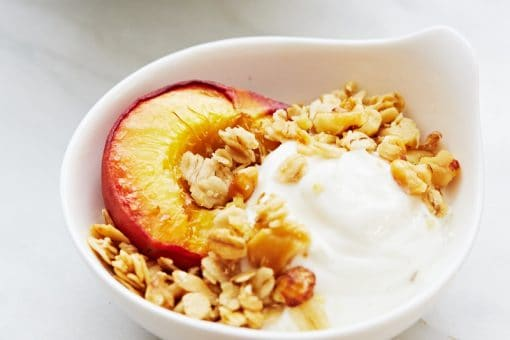 peach yogurt and granola